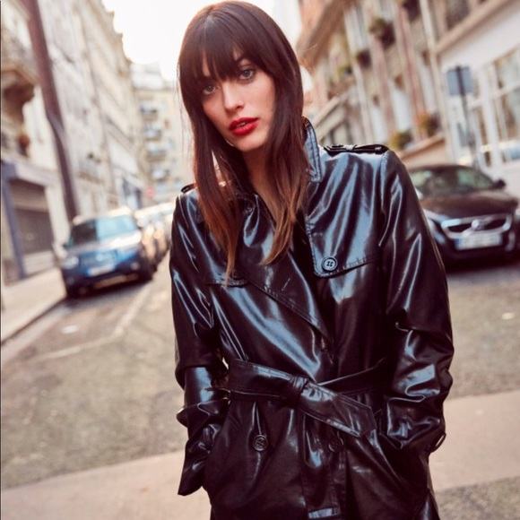 cute complete in specifications compare price The Kooples Black Vinyl trench coat